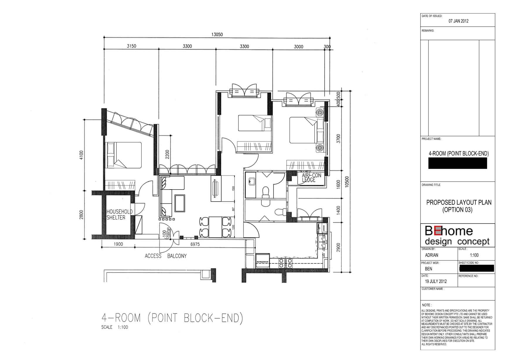 Punggol 4 room hdb renovation part 2 floor plan 3d for Room layout design
