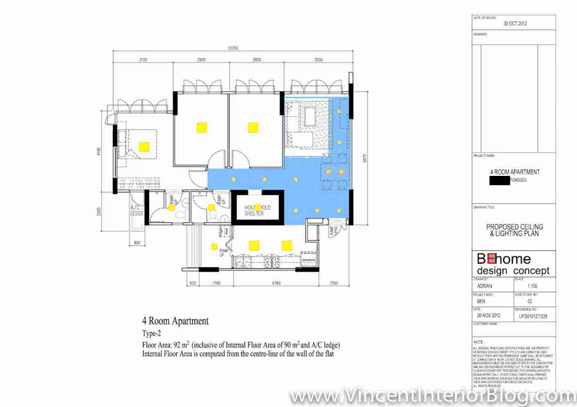 Punggol 4 room hdb 207 lighting plan and final layout for Apartment design guide part 3