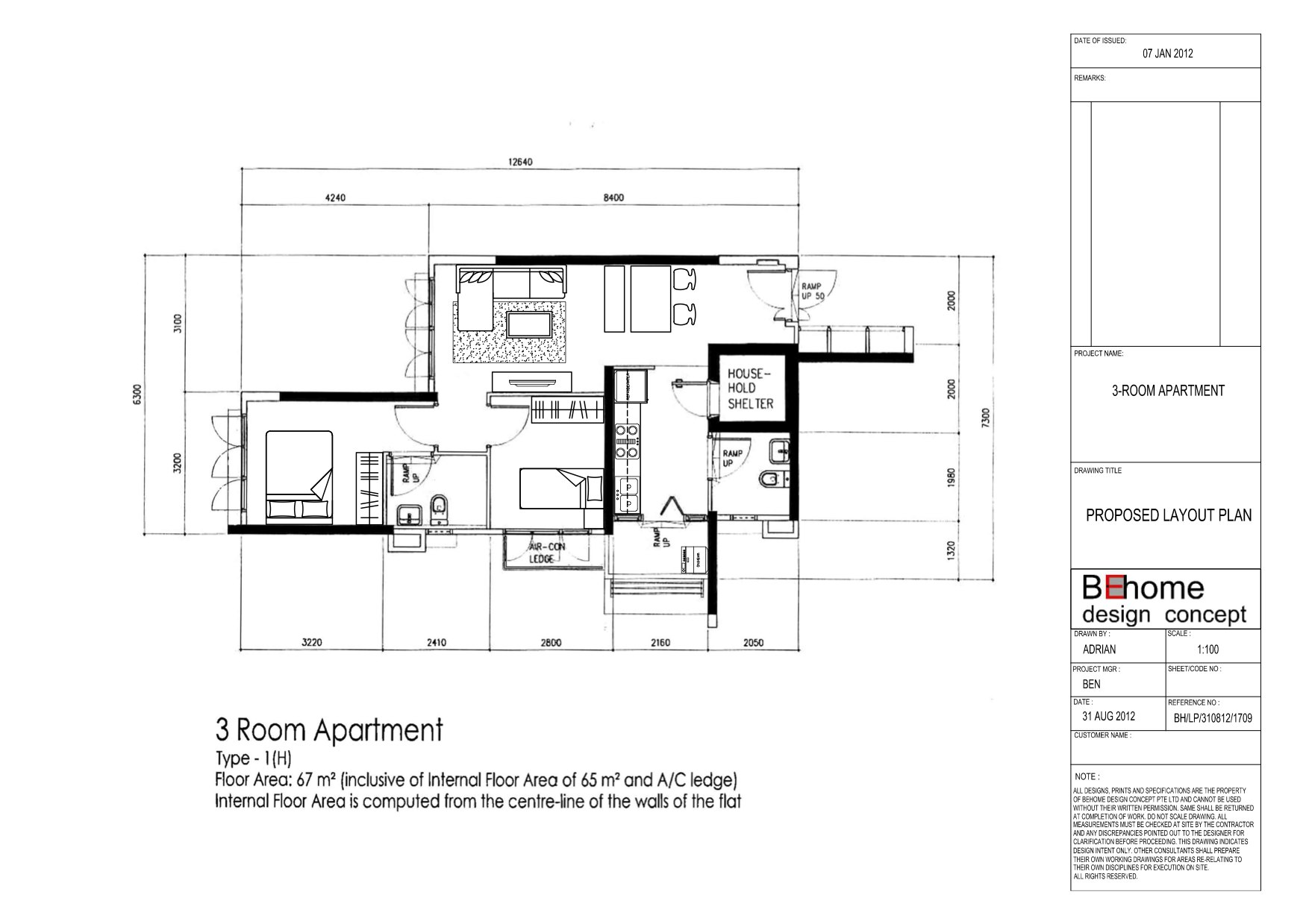 3 Room Sengkang Proposed Layout Plan Vincent Interior