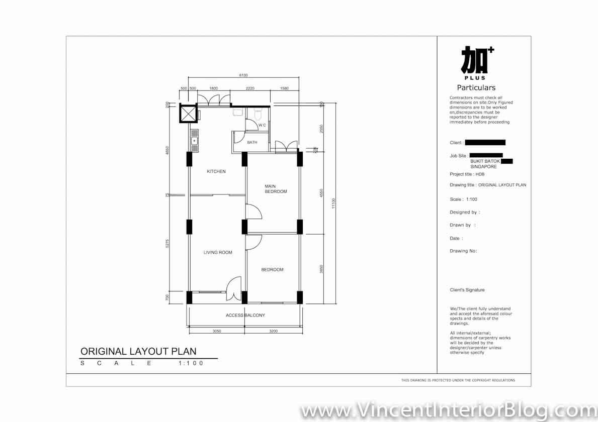 3 Room HDB Bukit Batok PLUS Interior Design Floor Plan 10
