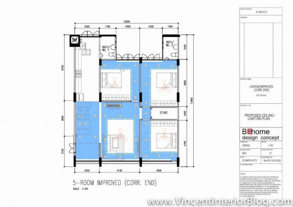 5 room HDB Yishun renovation Interior Design BEhome Design Concept-Ceiling Plan 16
