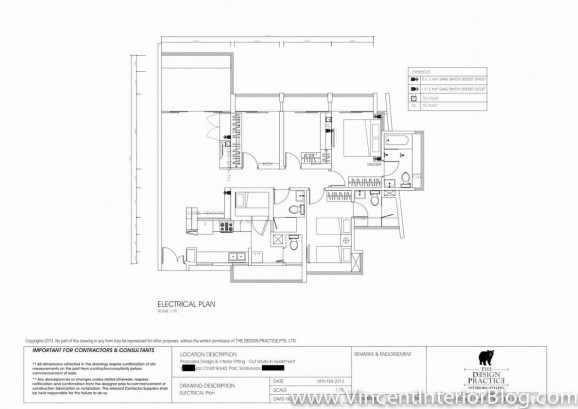 Singapore Condominium renovation the design practice ELECTRICAL LAYOUT