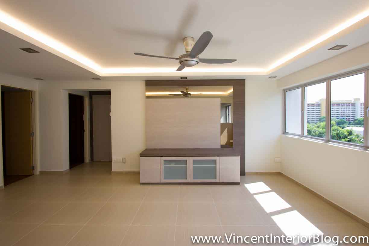 Yishun 5 room hdb renovation by interior designer ben ng Wall tv console design