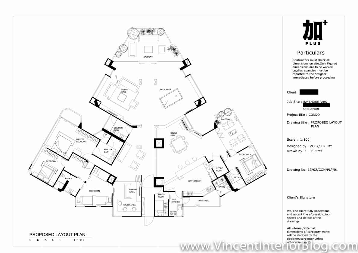 Bayshore Park Condominium Renovation PLUS Interior Design Proposed Floor Plan