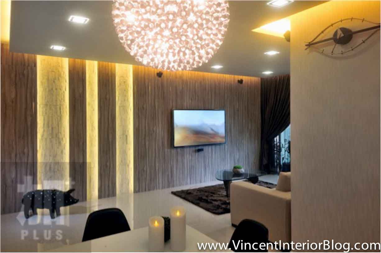 Feature wall design for living room singapore living room for Family room tv wall ideas