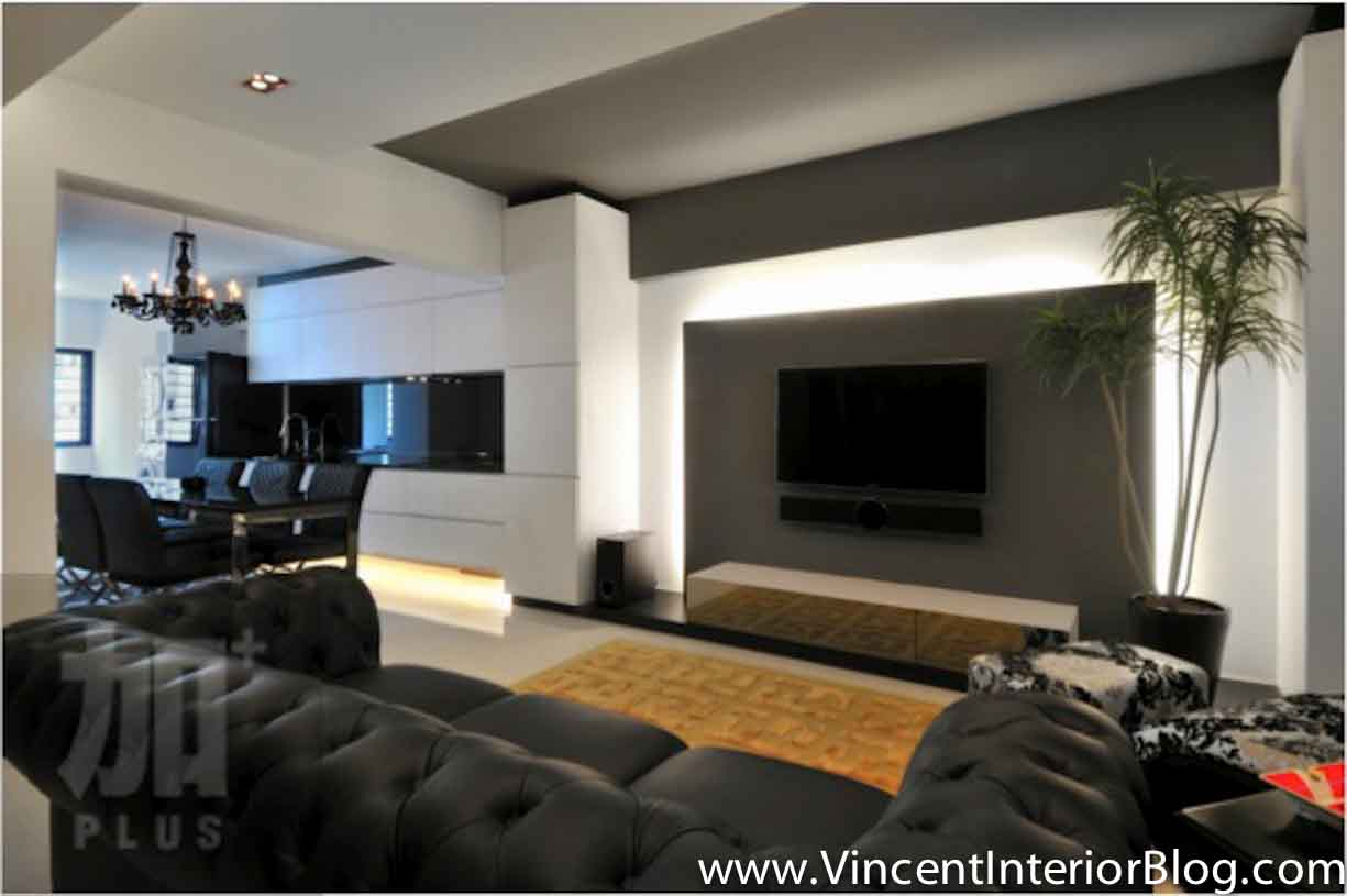 Singapore interior design ideas beautiful living rooms - Feature wall ideas living room wallpaper ...
