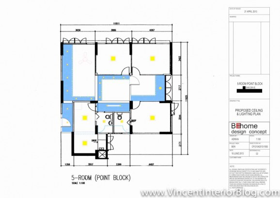 5 room HDB renovation sims drive BEhome design concept-Ceiling plan 7