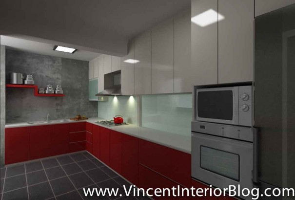 5 room HDB renovation sims drive BEhome design concept-Kitchen perspective 1