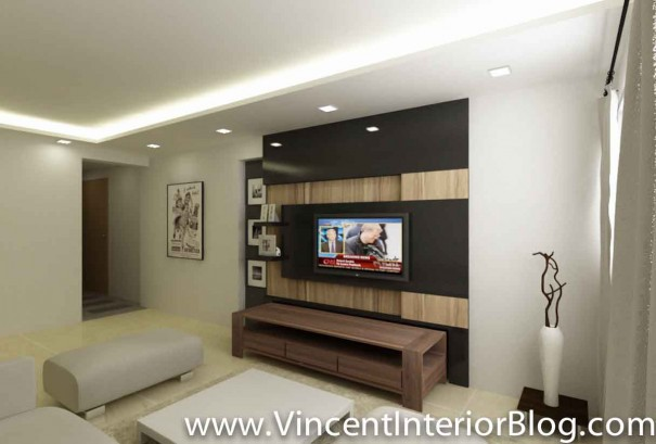 5 room HDB renovation sims drive BEhome design concept-TV feature wall perspective 4