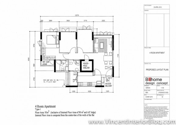 BEhome Design concept Buangkok 4 room HDB-Proposed layout plan